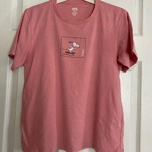 Uniqlo Pink Peanuts Snoopy Short Sleeve T-shirt